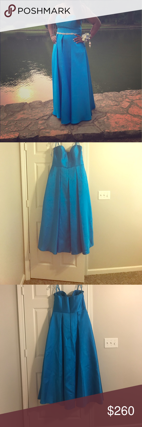 Beautiful blue prom dress for sale! Blue strapless prom dress worn once for sale. It is kind of made like a ball gown but not as poofy. The dress opens in the front as you can see in the picture. It does come with straps if you don't want to wear it strapless. I had it altered to fit me from a size 16 to about a 14 or 15. Please feel free to contact me with any question. mikado Dresses Prom