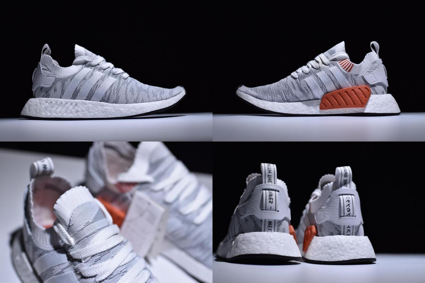 Adidas Nmd R2 Primeknit White Grey Red Men S And Women S Size By9410 In 2020