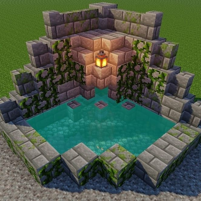 Minecraft Fountain Design Minecraftbuildingideas Casas Minecraft Minecraft Decoracao Cidade Minecraft