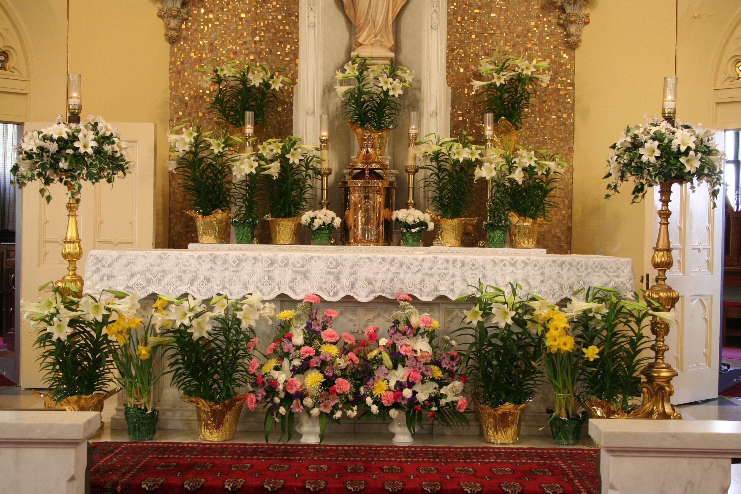 Church decorated for easter in the south