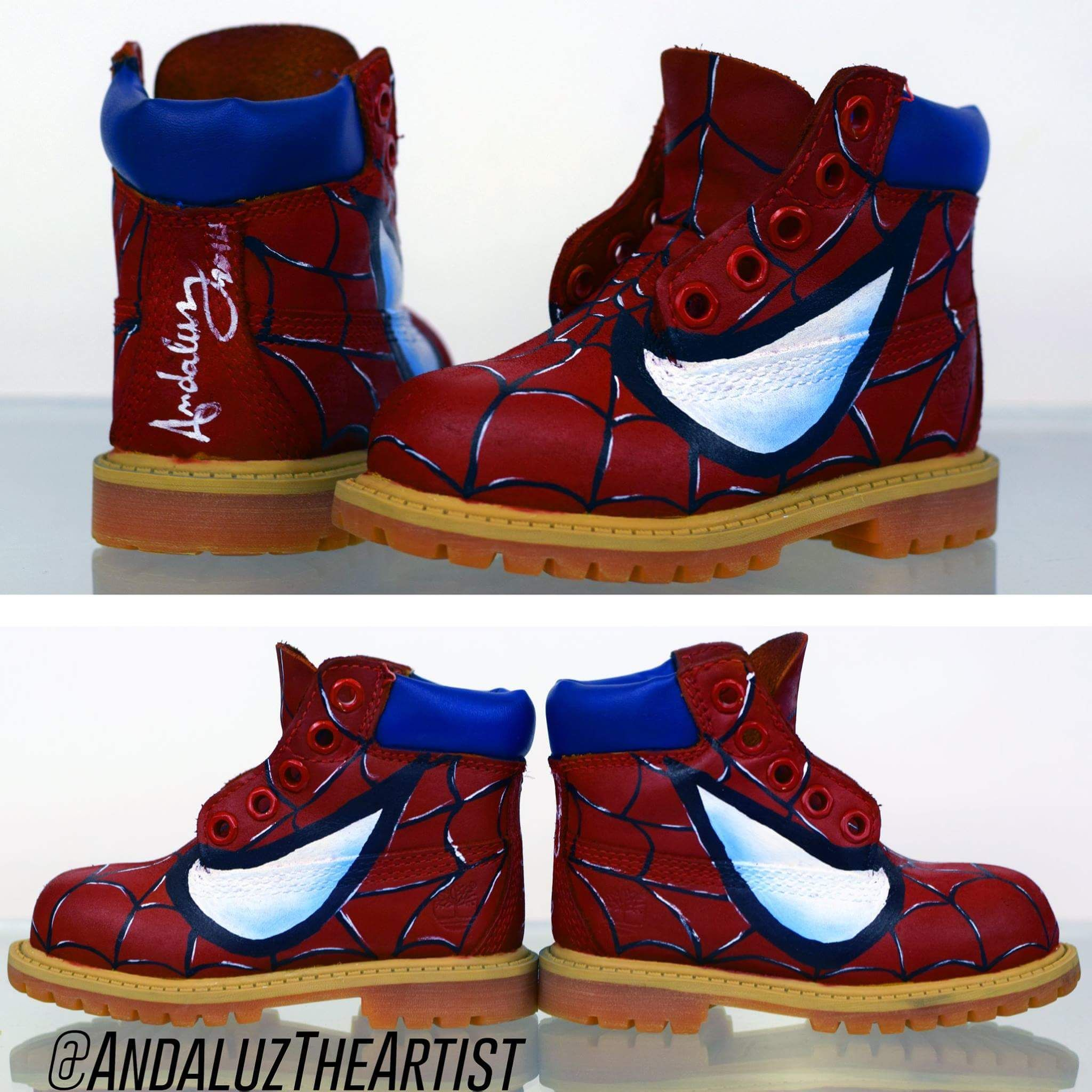 ff3f75c05fa Spiderman themed Timbs painted by Andaluz the Artist.  spidy  boots   spiderman  peterparker  andaluztheartist  custom  sneaker  modification ...