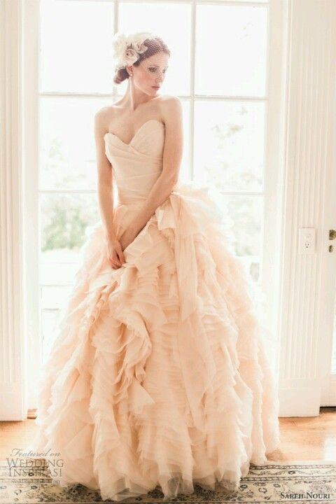 Blush wedding dress. Love it  the color and skirt of this dress