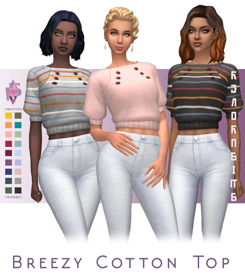 Early Access Breezy Cotton Top 3rd Tier Influencers Now Available 1st 2nd Tier Sweet Muffin S Early Birds 5th Of Feb In 2020 Sims 4 Clothing Sims Sims 4 Mm