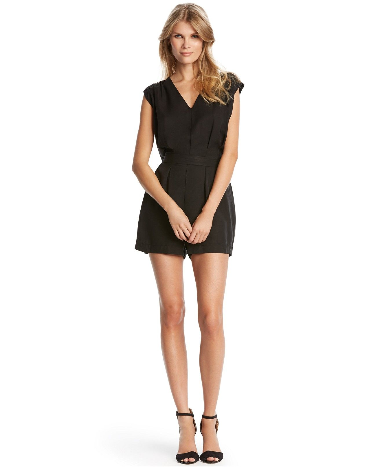 0b7dbcae10ce Kiind Of Pleated V-Neck Romper - Jumpsuits   Rompers - Women - Macy s