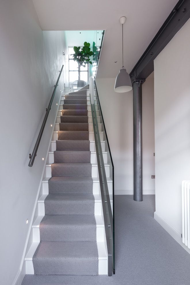 Superb Magnificent Carpet Runners For Stairs Technique London Industrial Staircase  Inspiration With Bespoke Glass Panels Gray Stair Runner Grey Pendant  Industrial ...