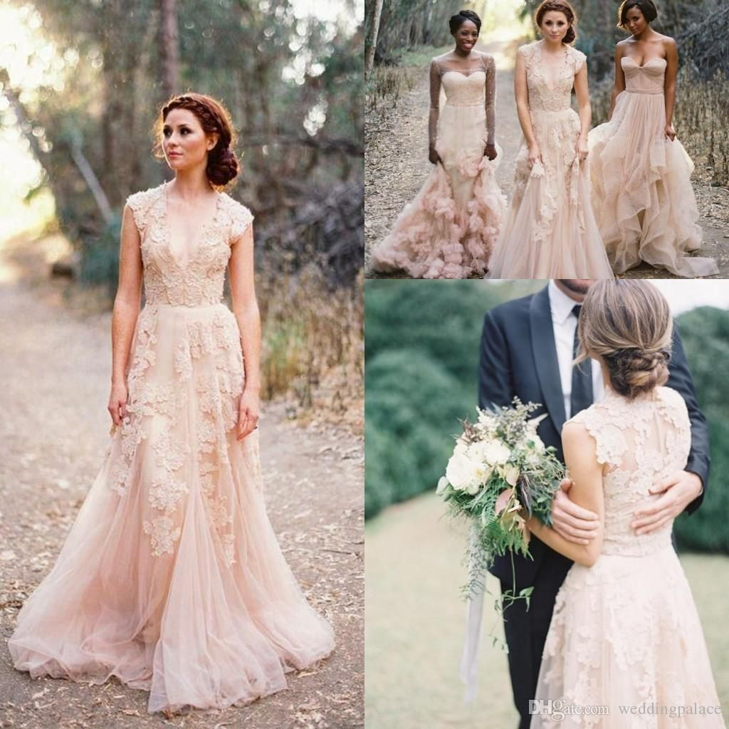 2016 v neck lace wedding dresses reem acra puffy bridal gowns vintage country garden wedding dresses champagne a line wedding gowns