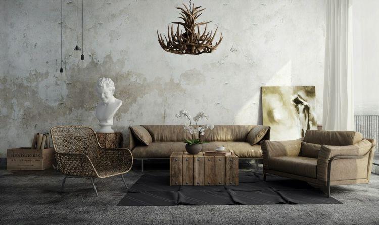 wohnzimmer rustikal teppich grau möbel kronleichter braun ...
