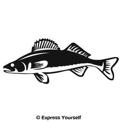 Detailed Walleye Decal Poker Room Fish Silhouette