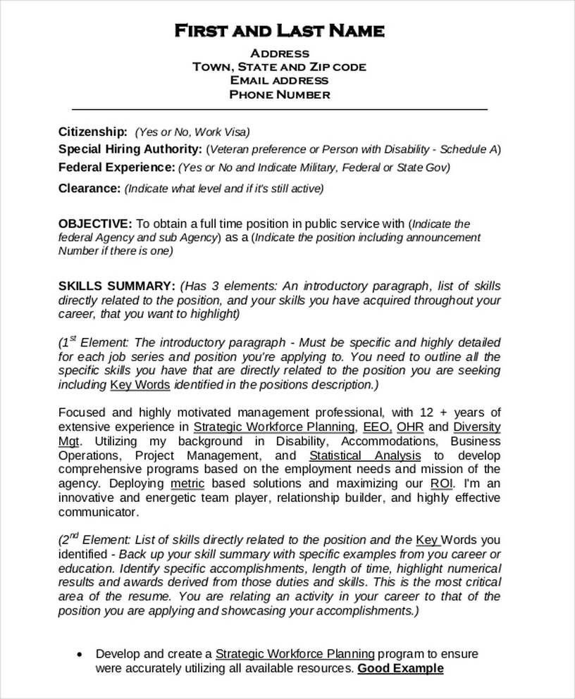 25+ Federal Resume Template Word Business Templates