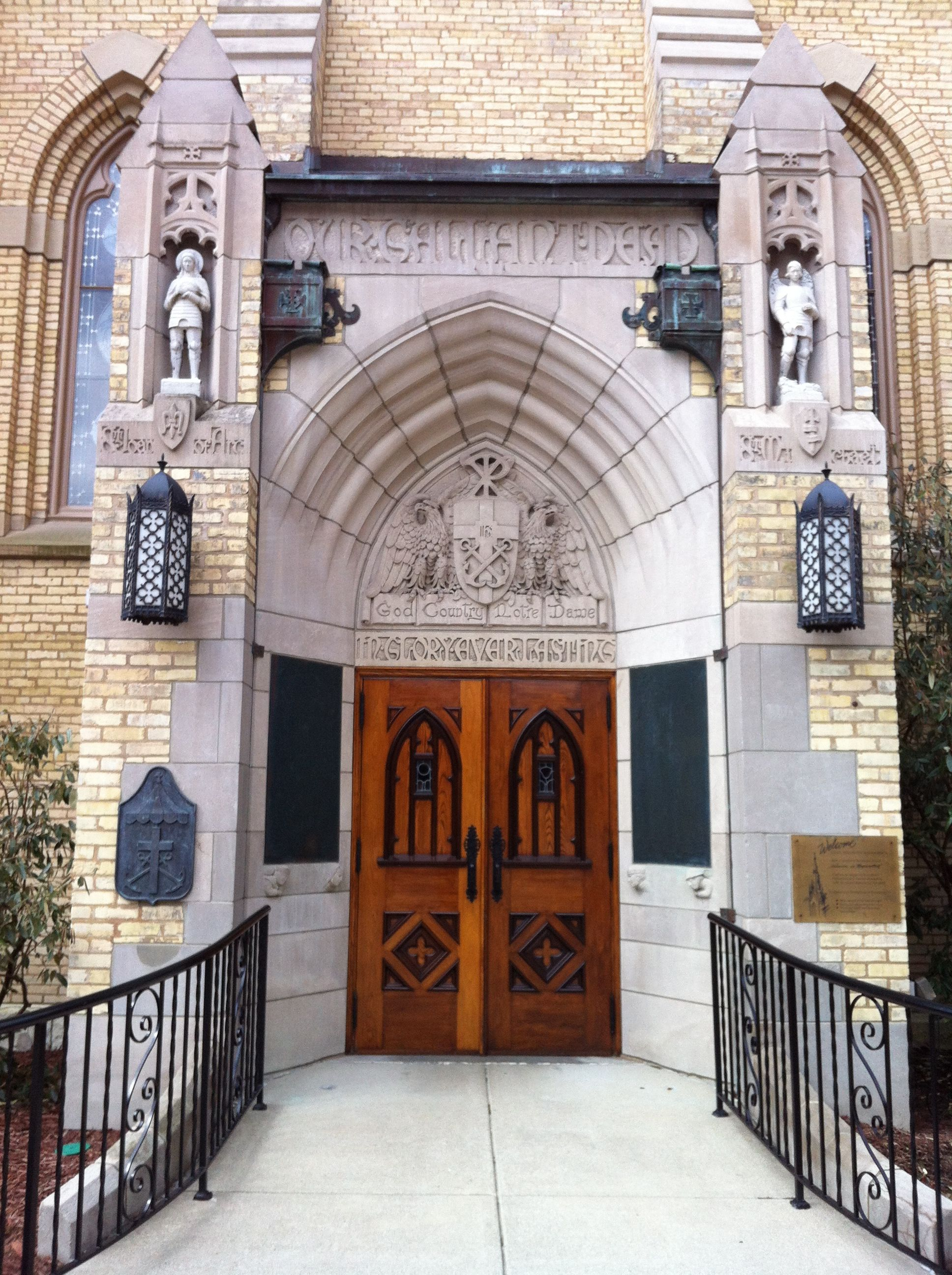 Church doors at Notre Dame. Sacred Heart