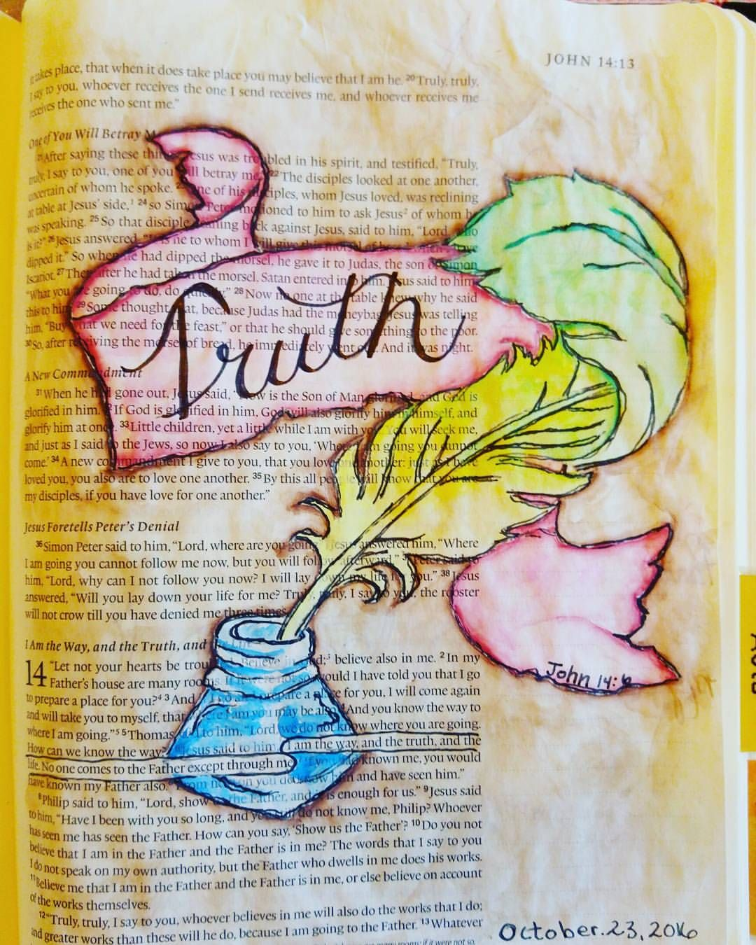 John 14 6 Using Watercolors Biblejournaling Bibleart Worship