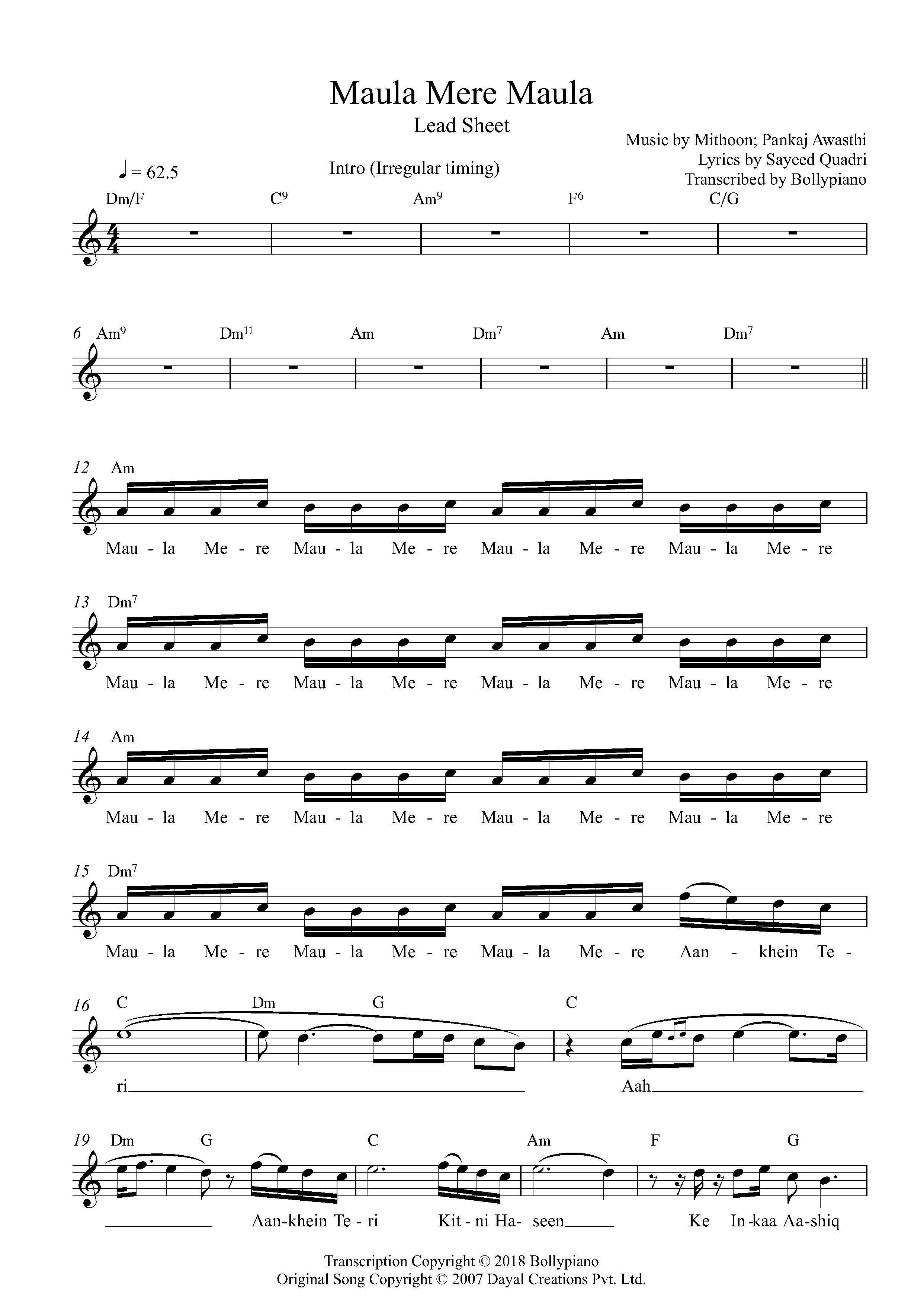Maula Mere Maula Flute Violin Notes Lead Sheet Music Pdf