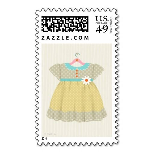 Darling Yellow Dress Hallmark Baby Shower for a Girl Stamp