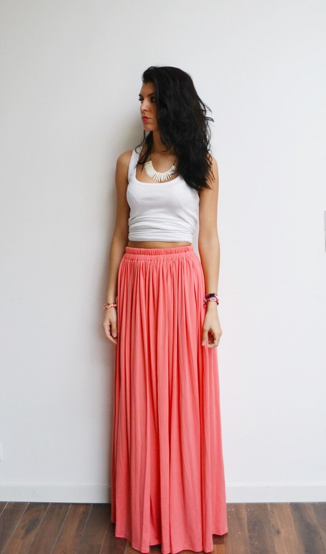 Jupe Longue Plissée Rose : maxi jupe longue corail rose en jersey taille haute ~ Pogadajmy.info Styles, Décorations et Voitures