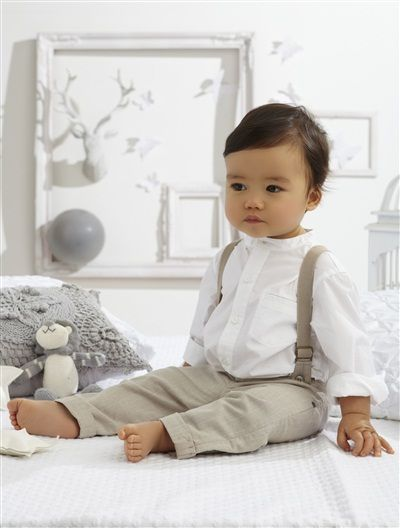 Baby Boy Shirt Trousers Outfit White Light Solid