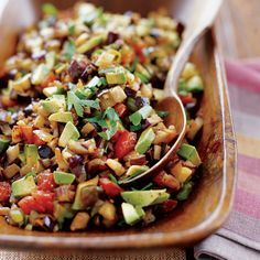 Eggplant Caponata   Sicily's caponata is a tangy eggplant salad served as a side dish or appetizer. This version adds bits of velvety avocado, full of monounsaturated fats that can help lower cholesterol.