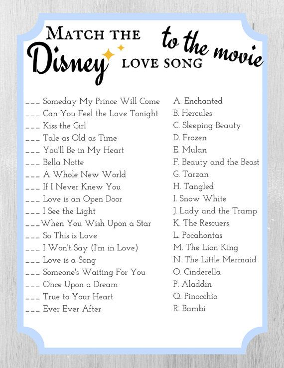 02c49bcdc60 Match the Disney Love Song to the Movie - Bridal Shower Game Template -  Cinderella Blue
