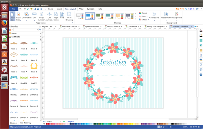 Edraw Invitation Card Software Is Particularly Designed For Users Who Usually Work On Linux Systems To Desi Invitation Card Format Invitation Cards Invitations