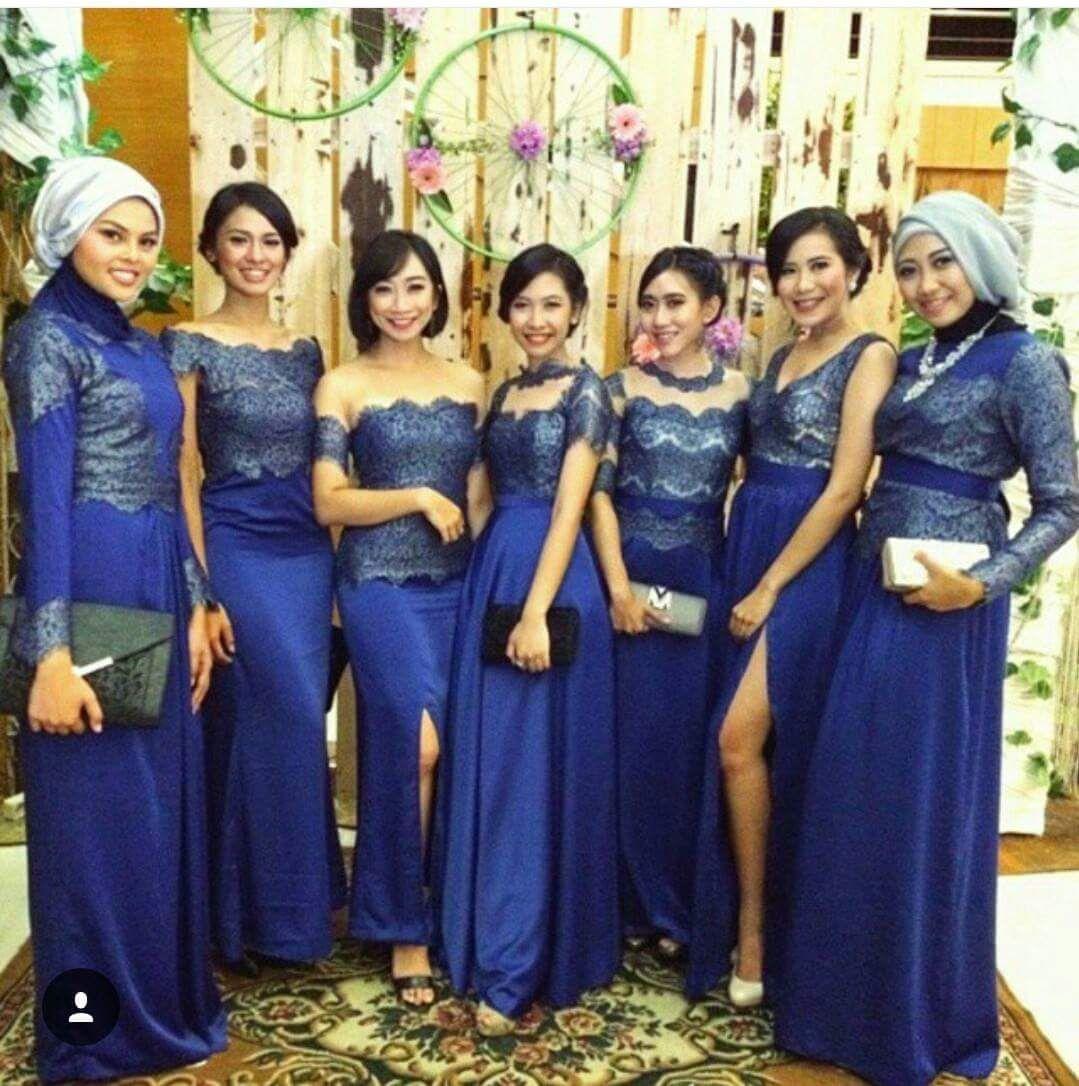 Model Kebaya Seragam Biru Trend 9 Pernikahan Acara Keluarga