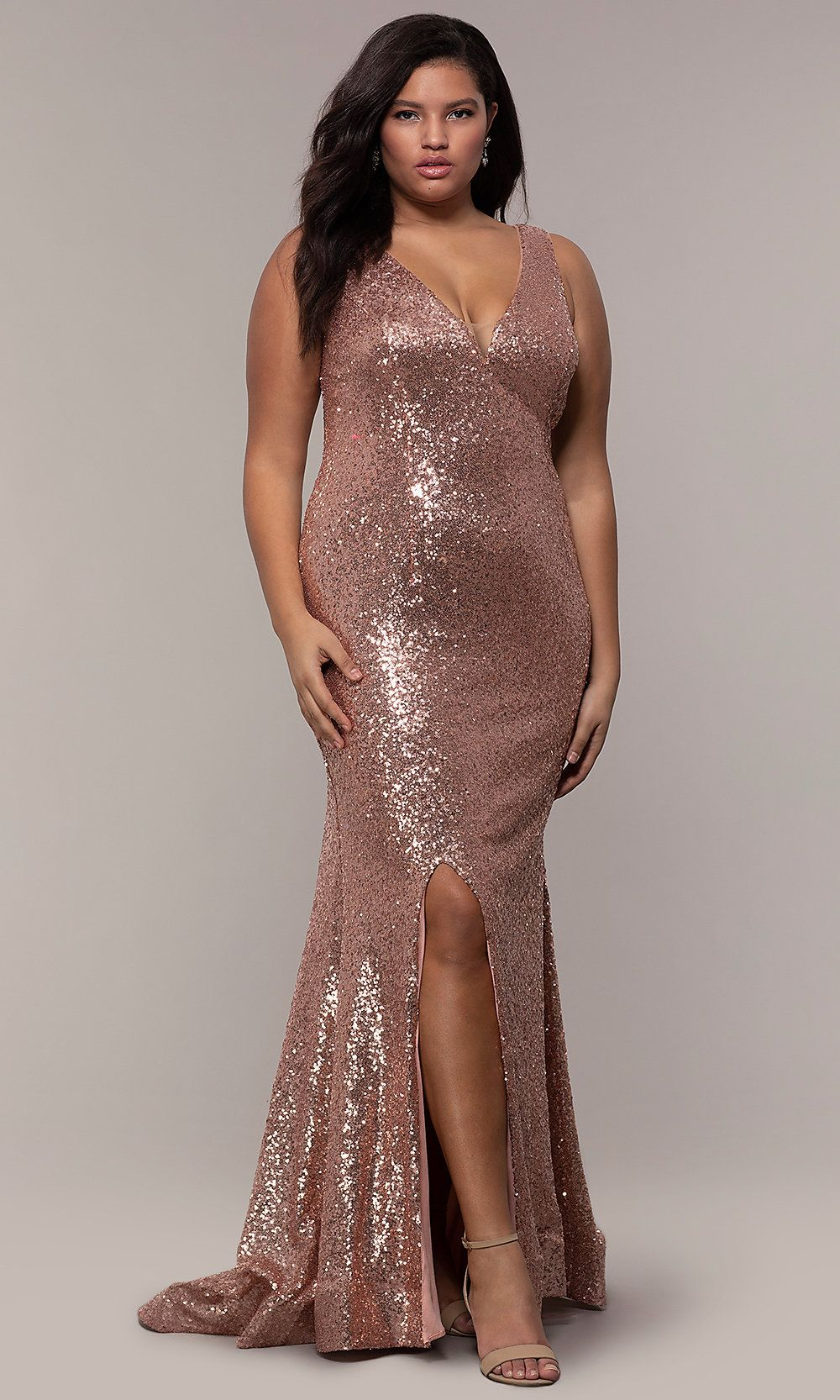 782acb71b9a Long Sequin V-Neck Plus-Size Prom Dress by PromGirl