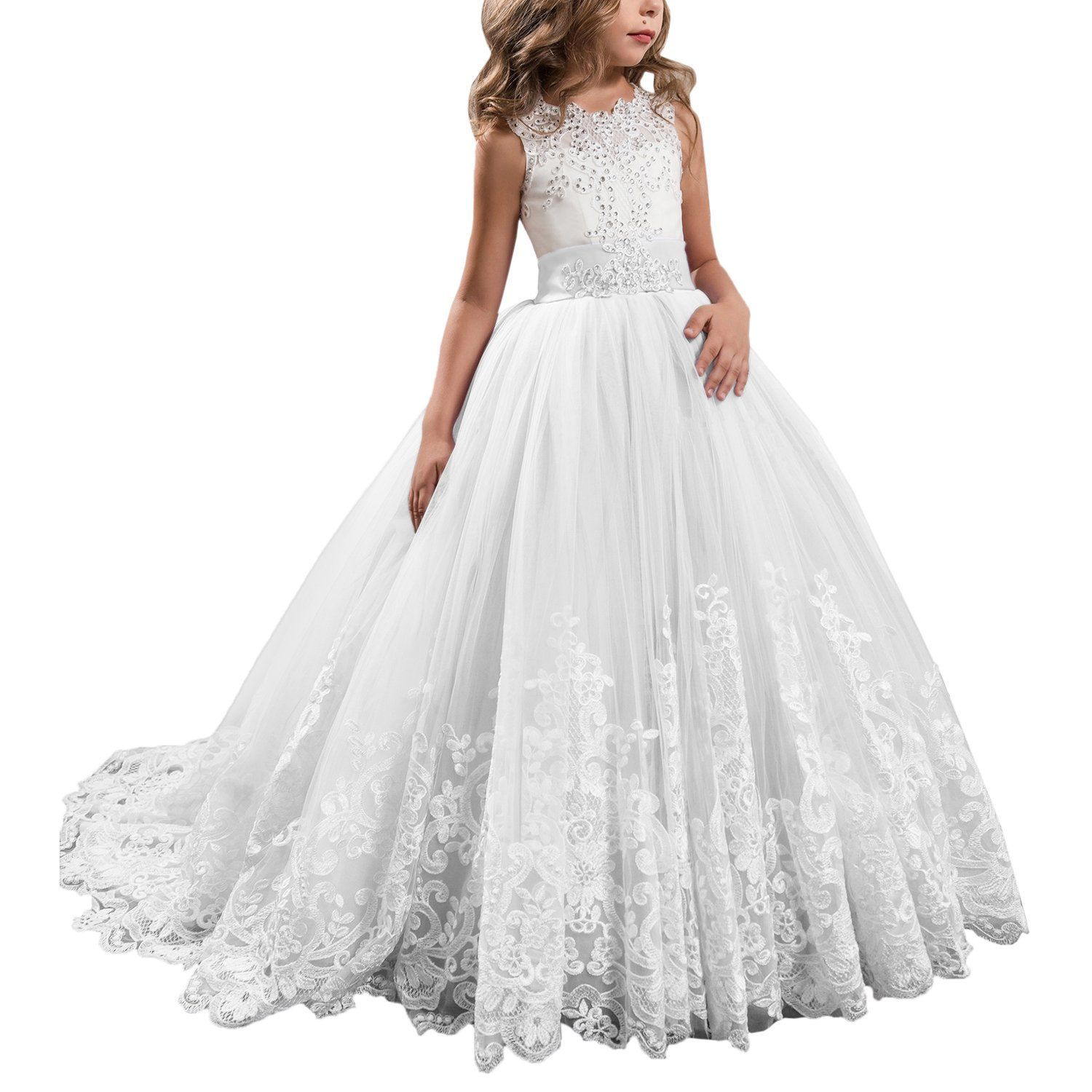 Princess white long girls pageant dresses kids prom puffy tulle ball