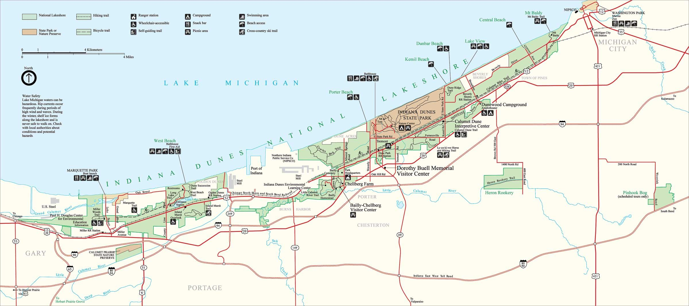 Indiana Dunes National Park Map - Michigan City Indiana USA ...