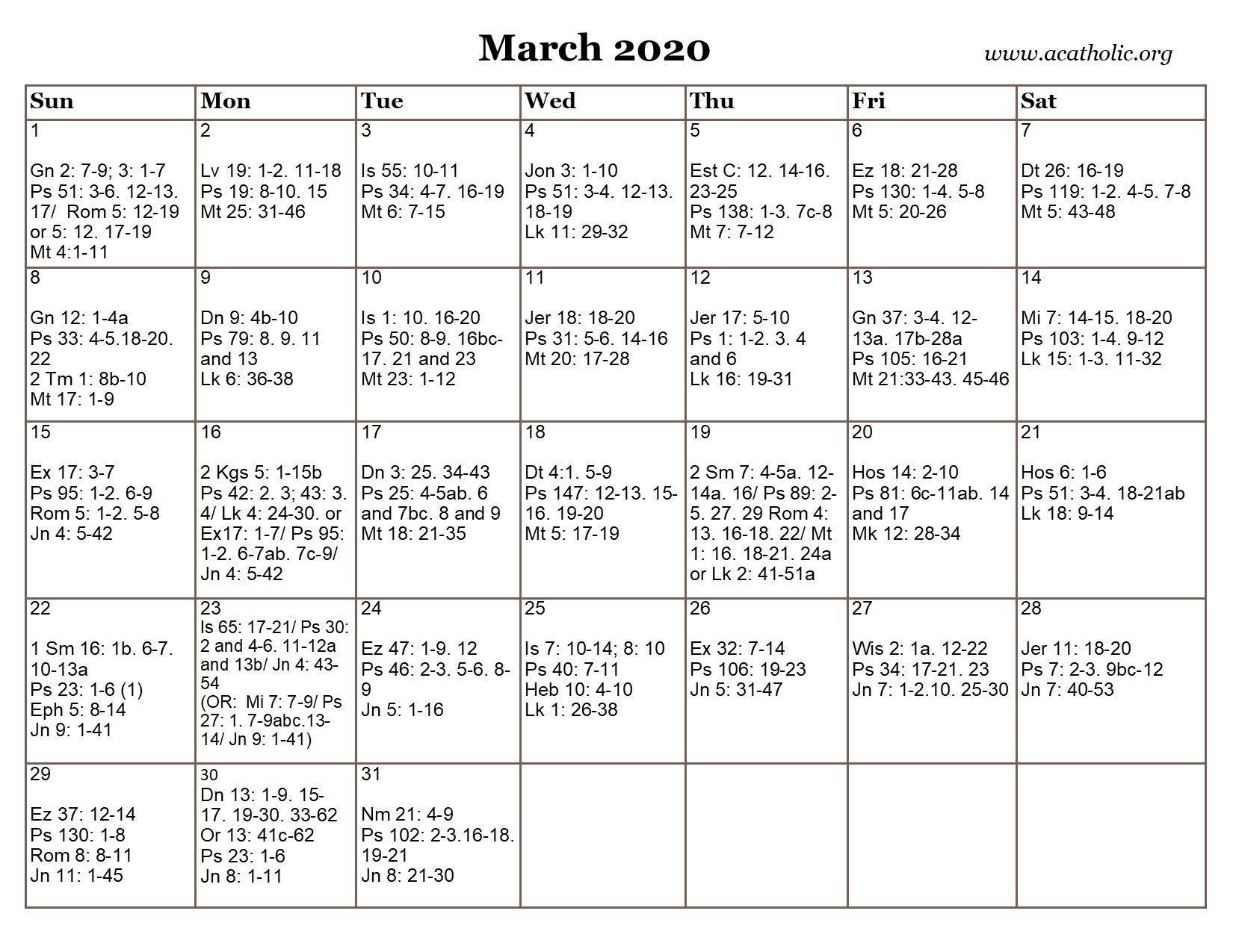 Calendar daily readings for mass in 2020 daily mass