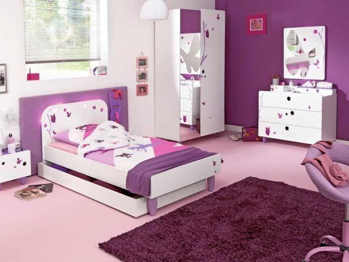 Conforama Chambre Fille Complete Avec Combinaison Blanc Rose Mur