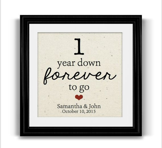 1 Year Anniversary Gifts For Him Together Cotton Print 1st
