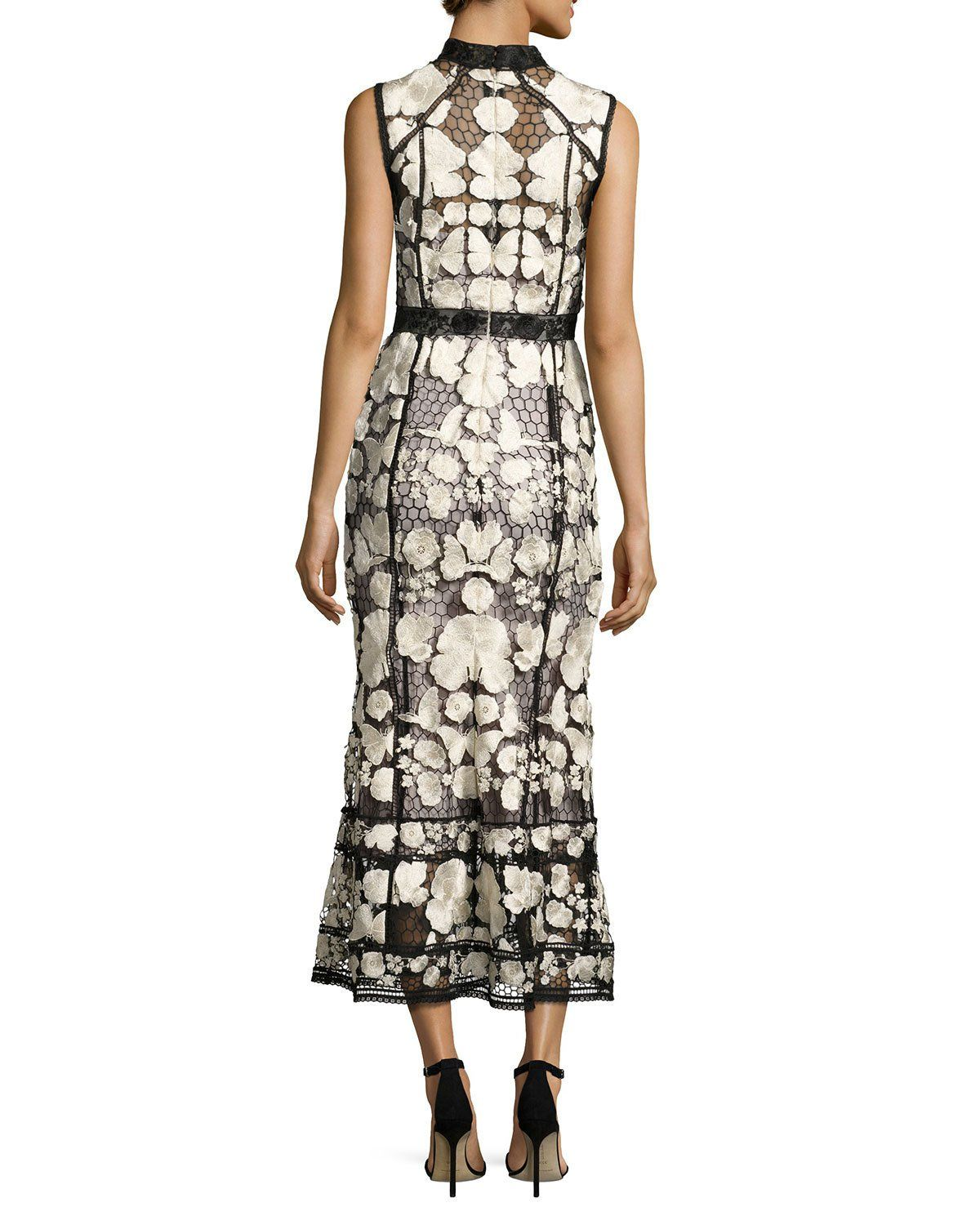 a77b2a9e Marchesa Notte Sleeveless Embroidered Lace Cocktail Dress, Black/White