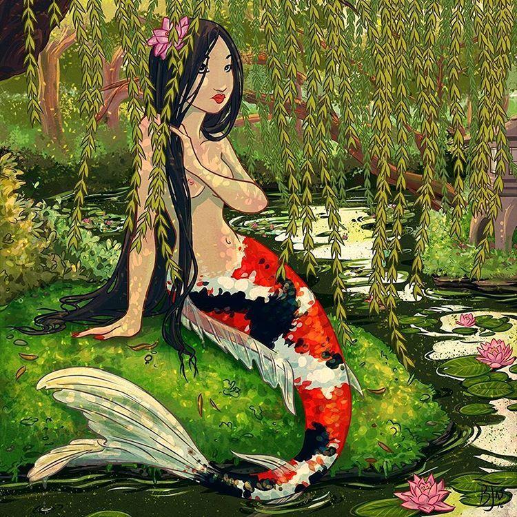 Koi mermaid #mermay #mermaid #drawing #digitalart #clippaintstudio #koi #japan