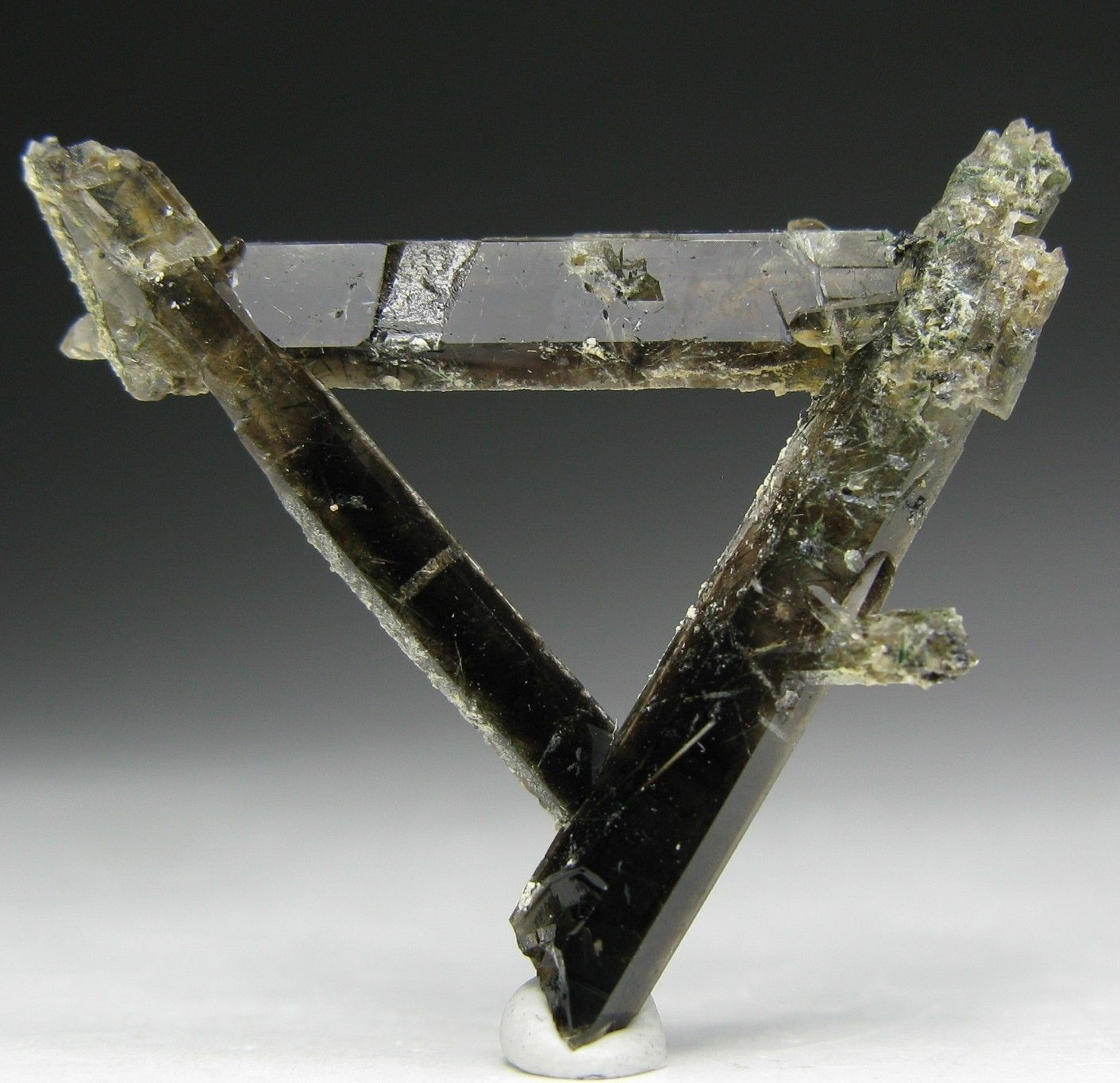 Three connected SMOKY QUARTZ crystals ~ Mt. Malosa * Malawi
