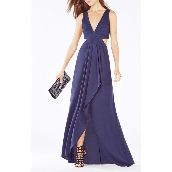 BCBGMAXAZRIA Elinne Cutout Pleated Gown ($338) ❤ liked on Polyvore featuring dresses, gowns, navy, cocktail dresses, navy evening gown, navy blue cocktail dress, blue dress and navy blue evening gown