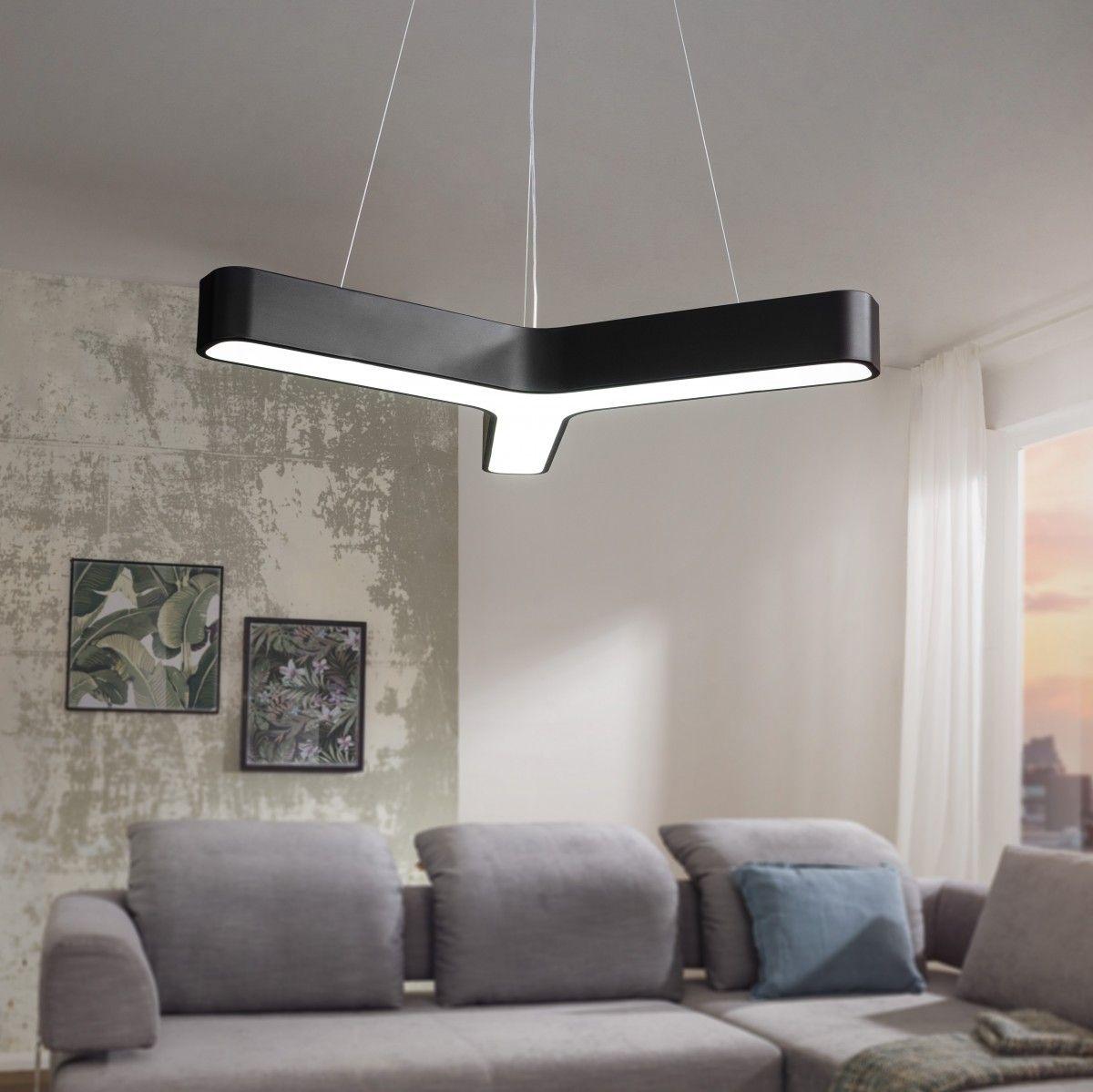 Design Wohn Zimmer Lampe Hängelampe Esszimmer Leuchte Pendellampe Stoff schwarz