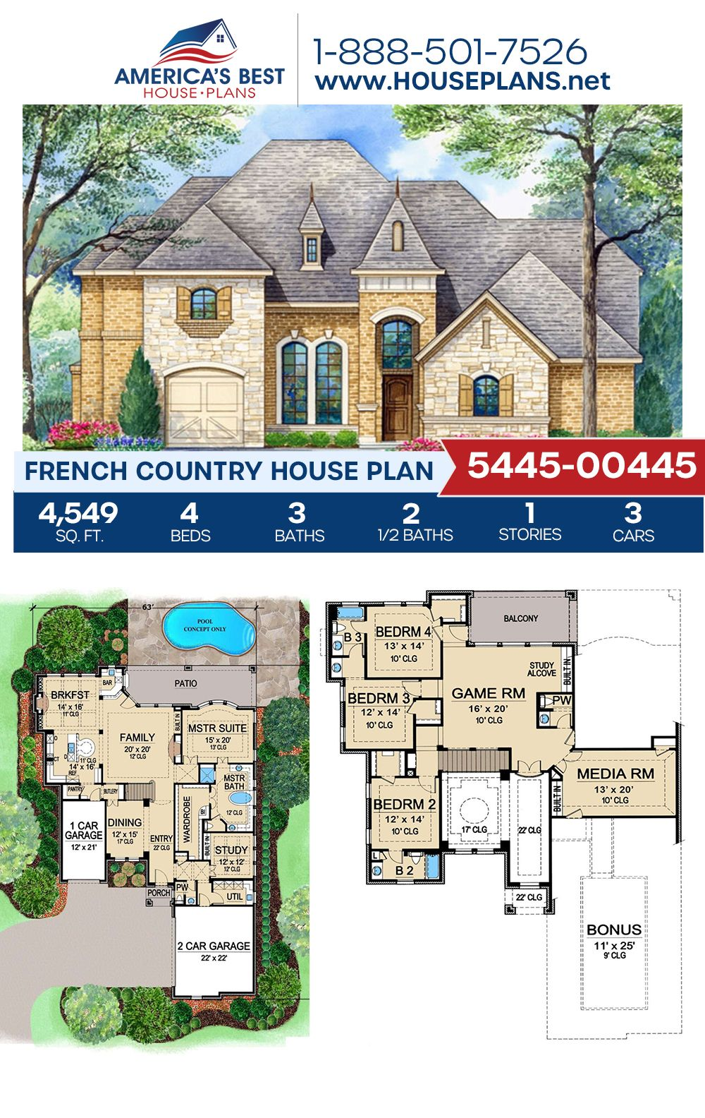 House Plan 5445 00445 French Country Plan 4 549 Square Feet 4 Bedrooms 4 Bathrooms French Country House Plans French Country House Country House Plan