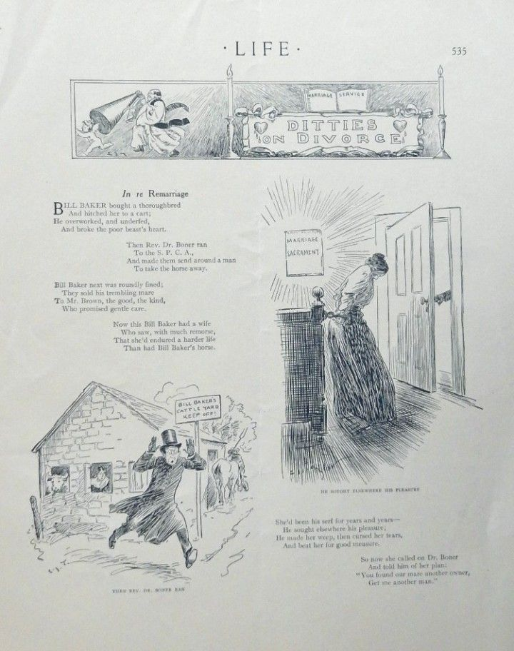 Ditties on Divorce  this is an actual 1906 antique life magazine page  illustrations and story