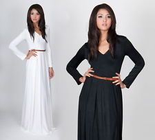 NEW Womens Elegant VNeck Long Sleeve Cocktail Evening Party Maxi Dress XS S M L