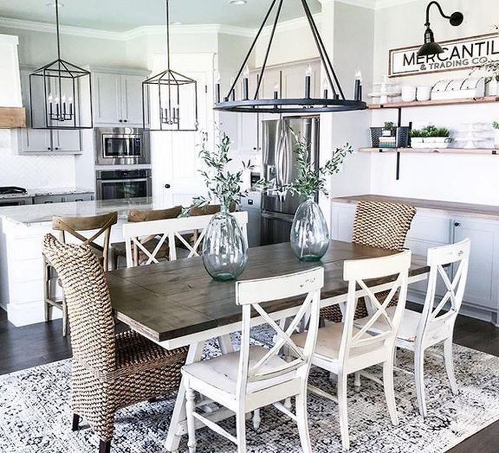 35 Tasteful Dining Room Lighting Ideas: 35 Cool Farmhouse Dining Room Design Ideas