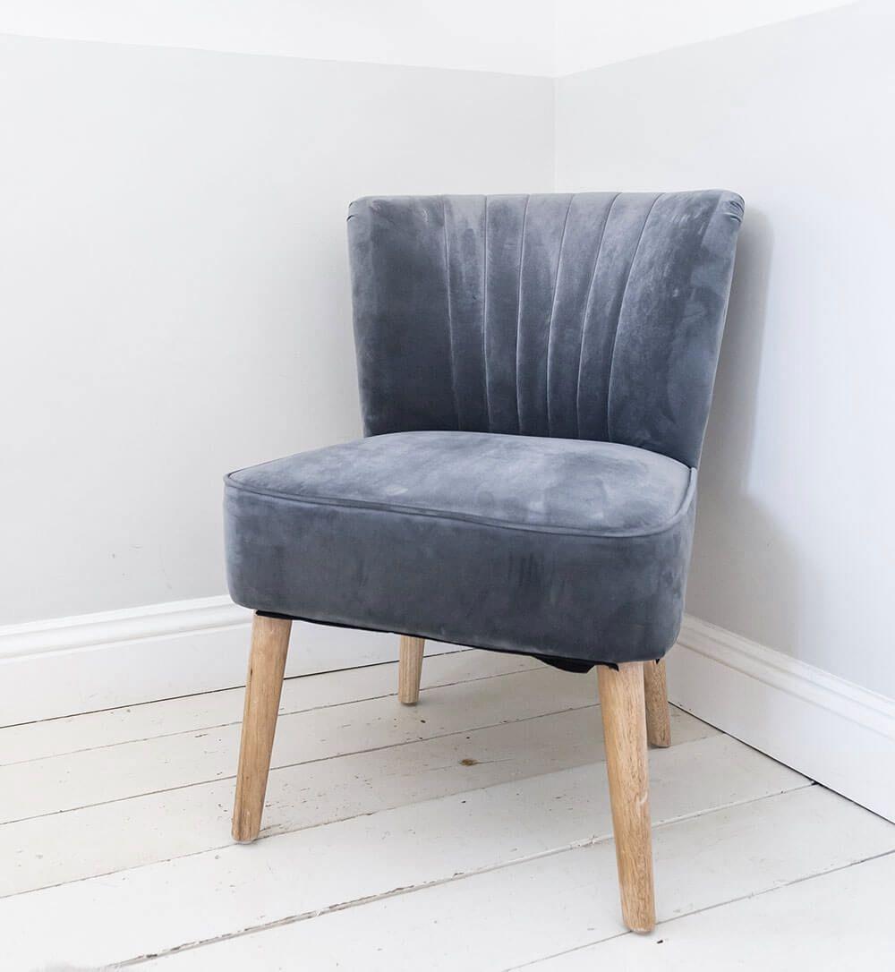 Velvet Oyster Occasional Chair Fluted Retro Bedroom Living Room
