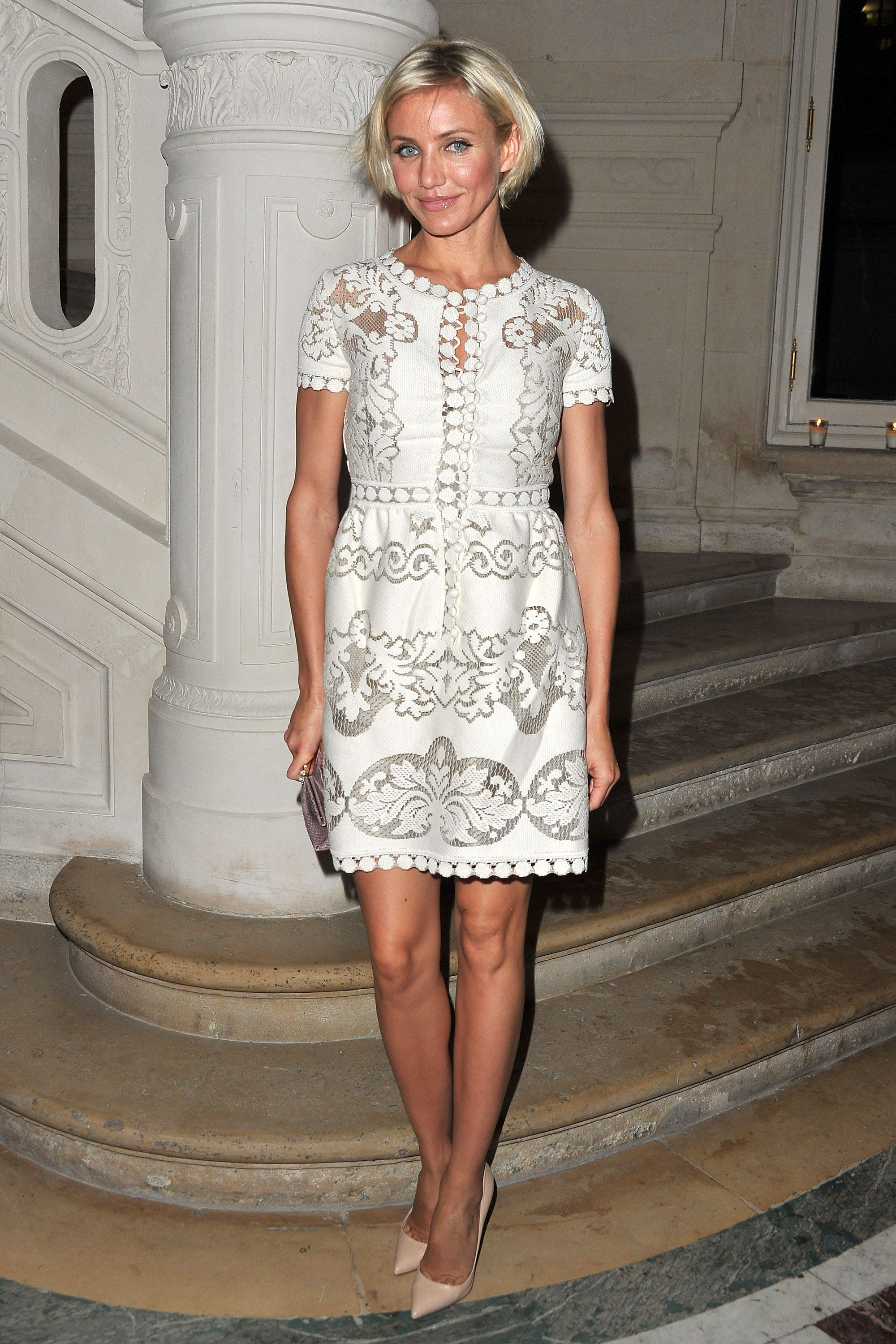 Fresh-faced Cameron Diaz keeps it youthful in a girly cream lace ...
