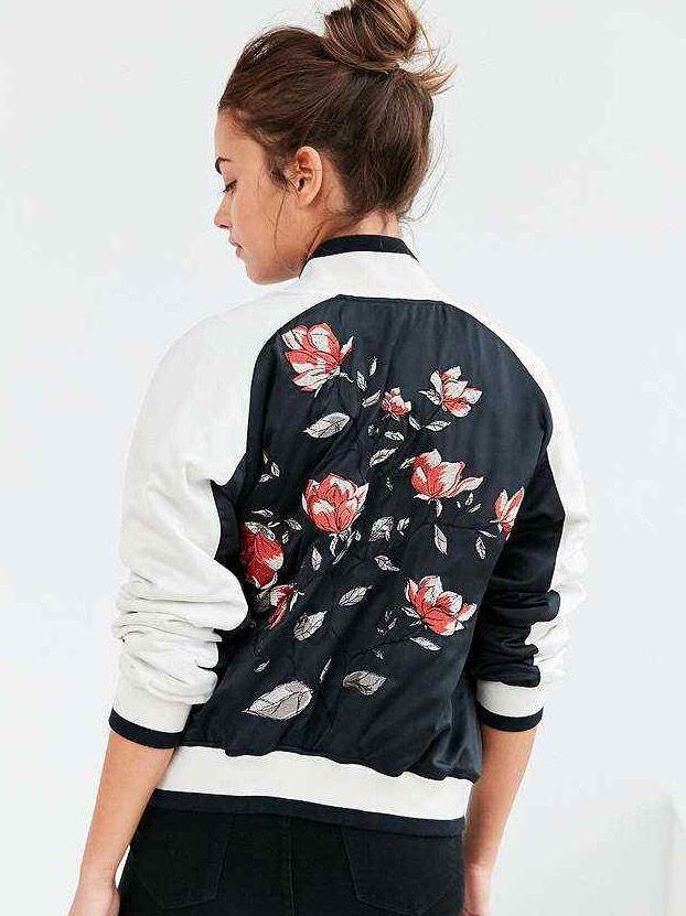 Pin By Shawn Salgado On Wear Flower Bomber Jacket Bomber Jacket Varsity Bomber Jacket