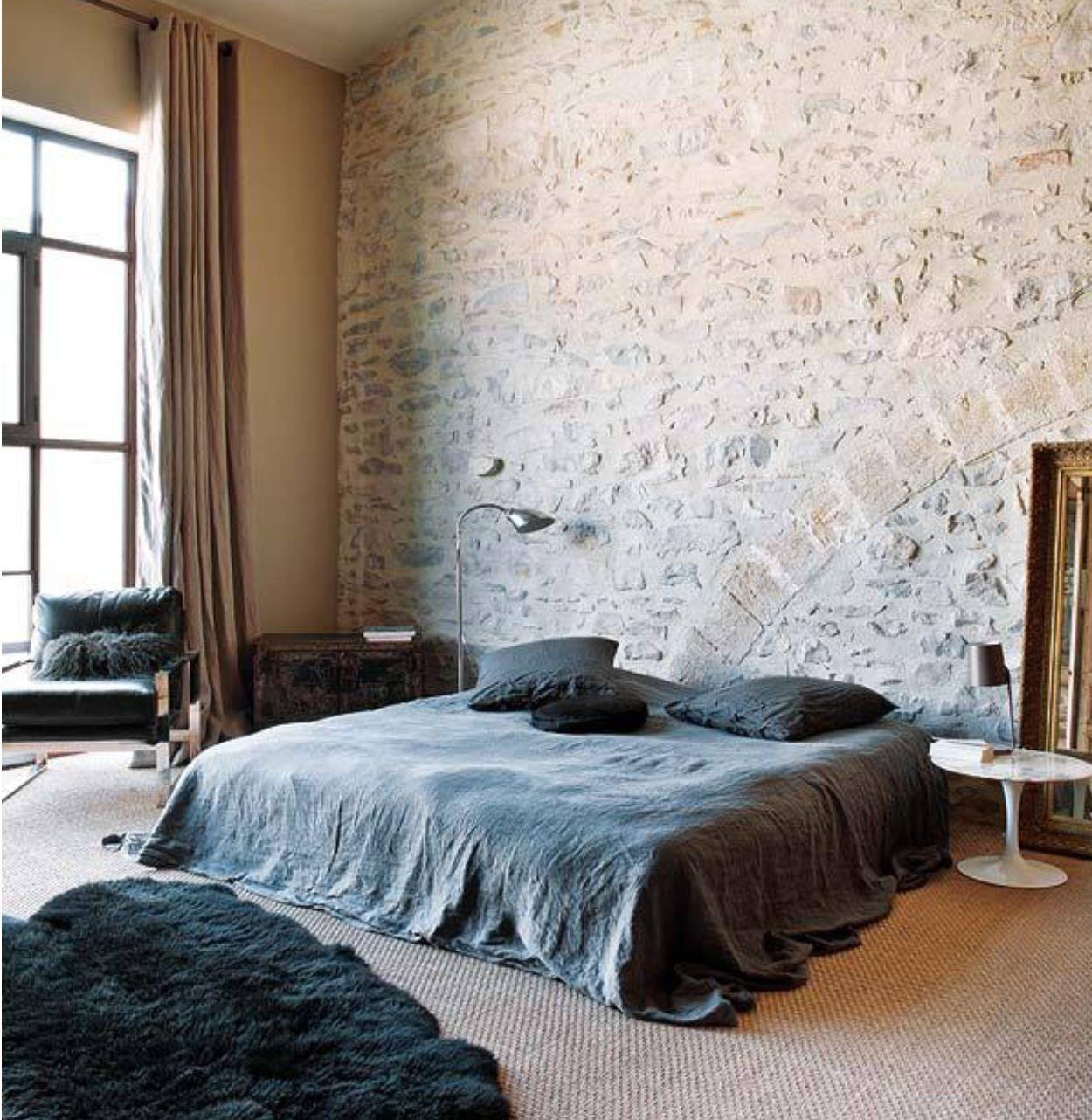 Modern Stone Walled Rustic Bedroom Scheme