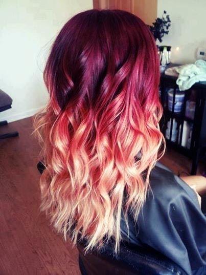Burgundy to peach hair color melt best hair styles - Ombre hair haarfarbe ...
