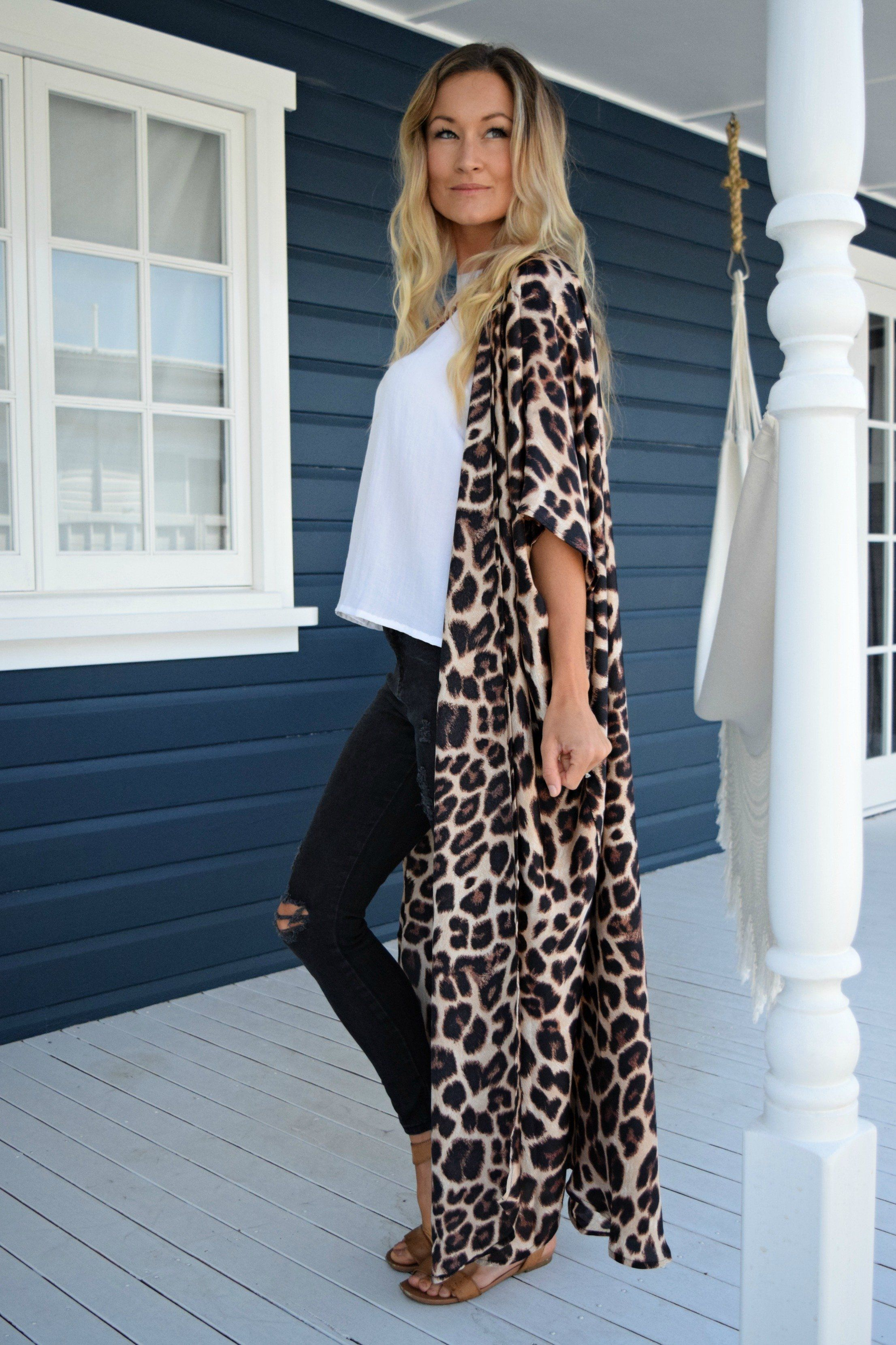 68a206c03bf33 Leopard Print Silk Blend Kimono - Available in 3 lengths in 2019 ...