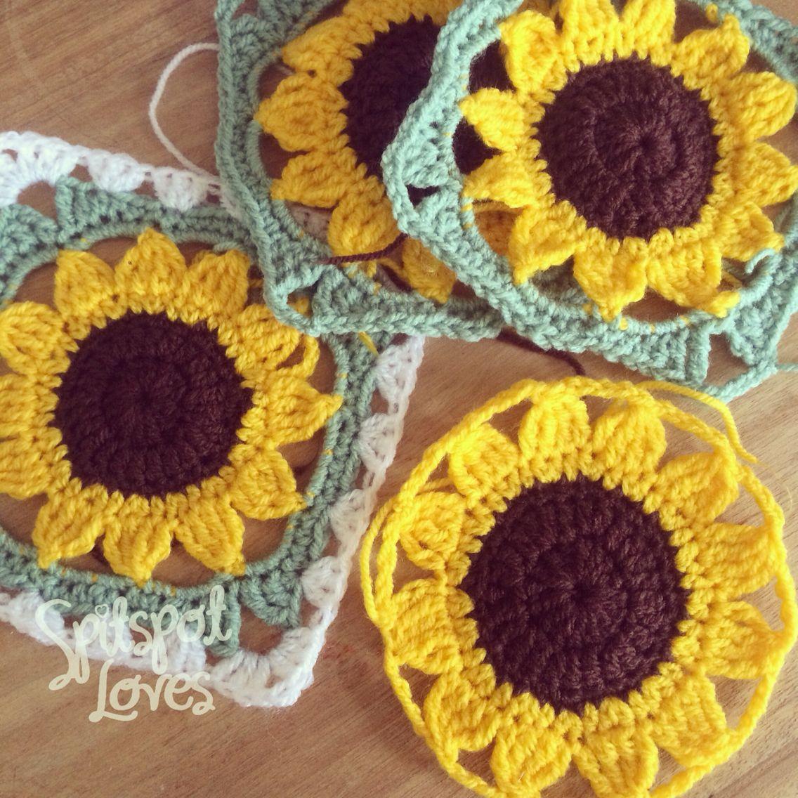 Exelent Crochet Sunflower Granny Square Pattern Pattern - Easy Scarf ...