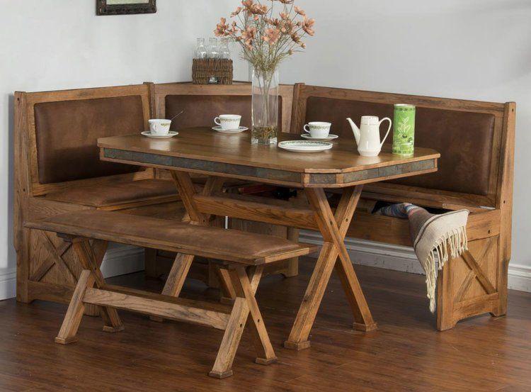Arizona Rustic Oak Breakfast Nook Set W Upholstered Seats Breakfast Nook Table Breakfast Nook Set Dining Room Sets