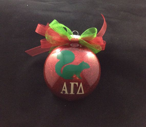 Alpha Gamma Delta Squirrel Sorority Glitter Christmas Ornament