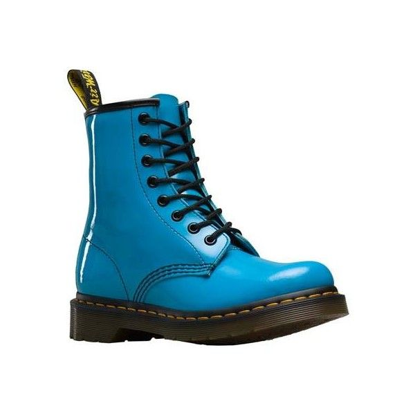 Women S Dr Martens 1460 8 Eye Boot Sunny Blue Patent Lamper Casual 125 Liked On Polyvore Featurin Leather Combat Boots Women Dr Martens Boots Men Boots
