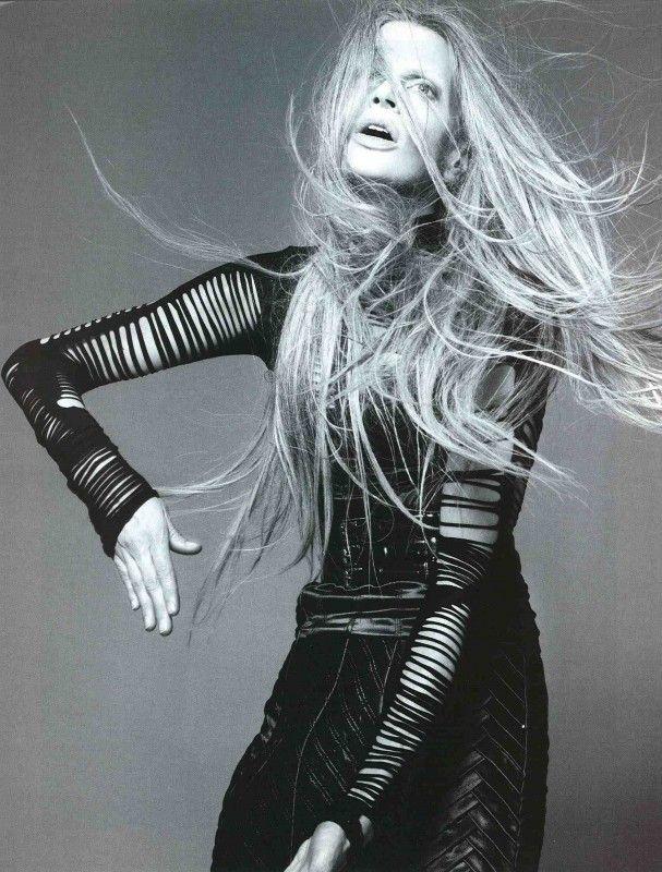Love Kristen McMenamy's long gray hair! She's beautiful ...