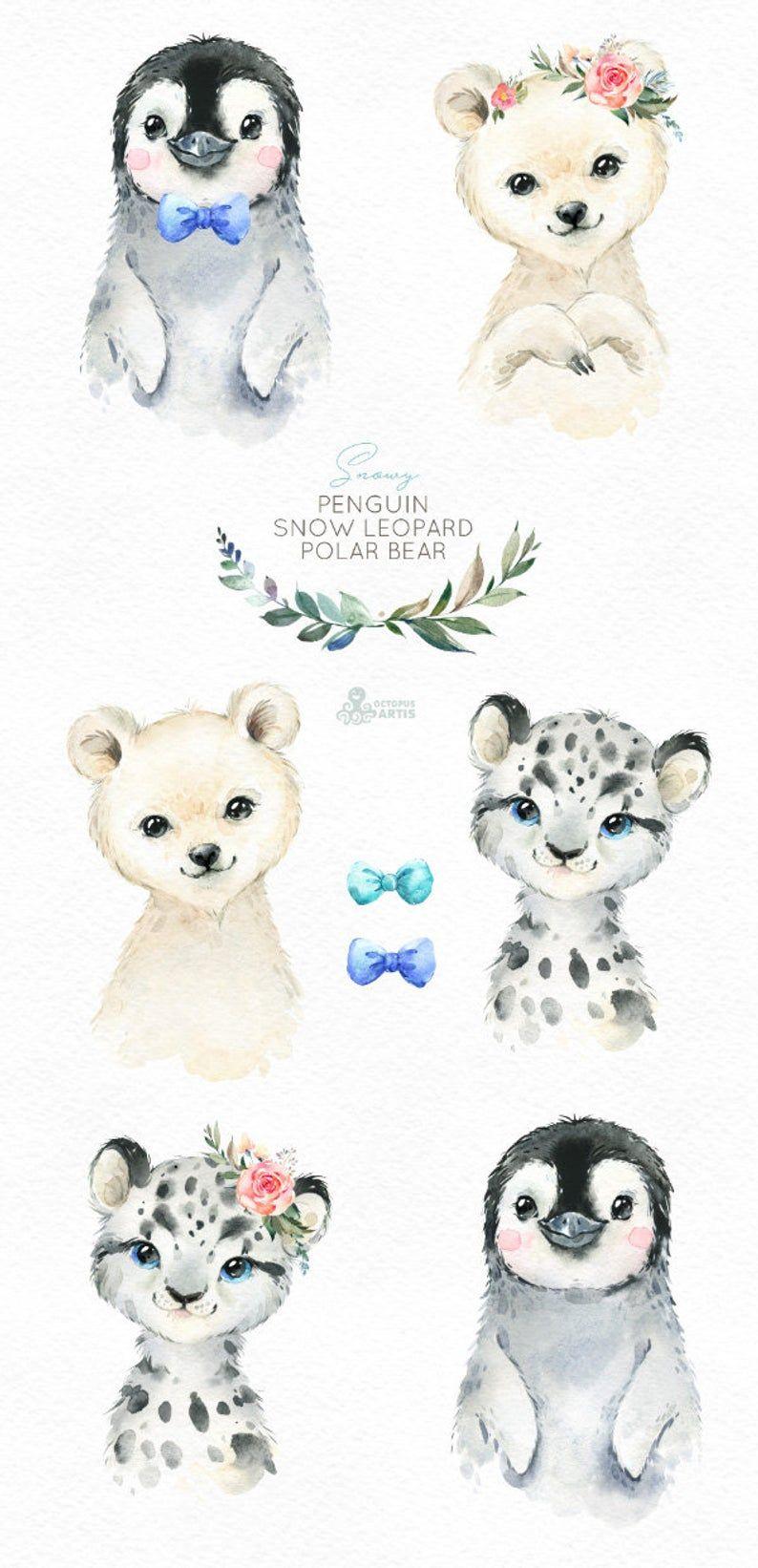 Neigeux léopard des neiges dours pingouin aquarelle petits animaux clipart bébé portrait blanc dhiver arctique fleur enfant crèche art-shower de bébé